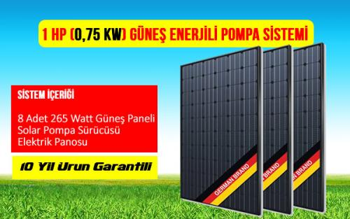 1 hp 0,75 kw güneş enerjili su pompası tarımsal sulama sistemi