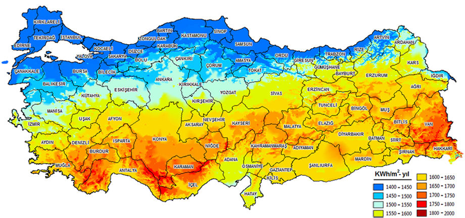 türkiye güneşlenme süresi haritası