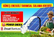 Güneş Enerjili Tarımsal Sulama Sistemi Ziraat Bankası Kredisi Faizsiz şartları nası başvurulur