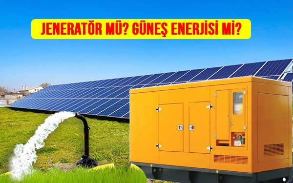 Jeneratör ile tarla sulama güneş paneli ile güneş enerjili sulama sistemi
