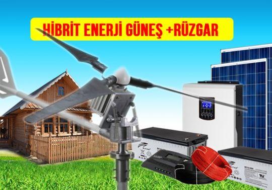 bağ evi için rüzgar türbini rüzgar enerjisi ve güneş paneli solar güneş enerjisi elektrik üretimi hibrit sistem maliyeti kurulumu