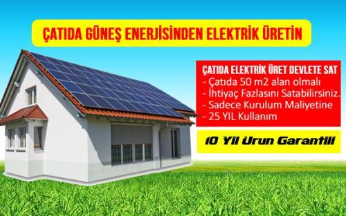 ev işyeri fabrika çatıda güneş enerjisinden elektrik üretimi devlete satma